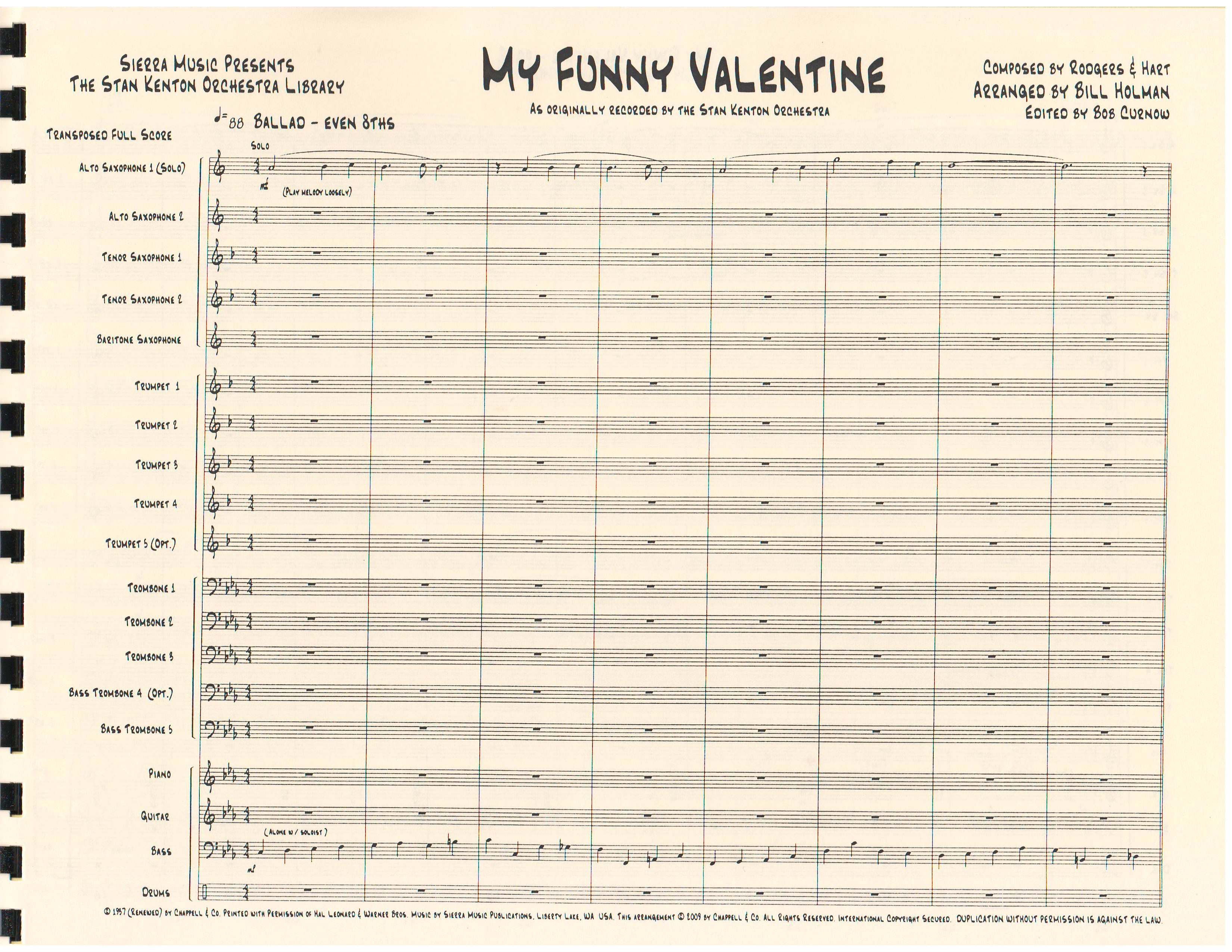 My Funny Valentine By Composer Performer Jazz Ensemble Big