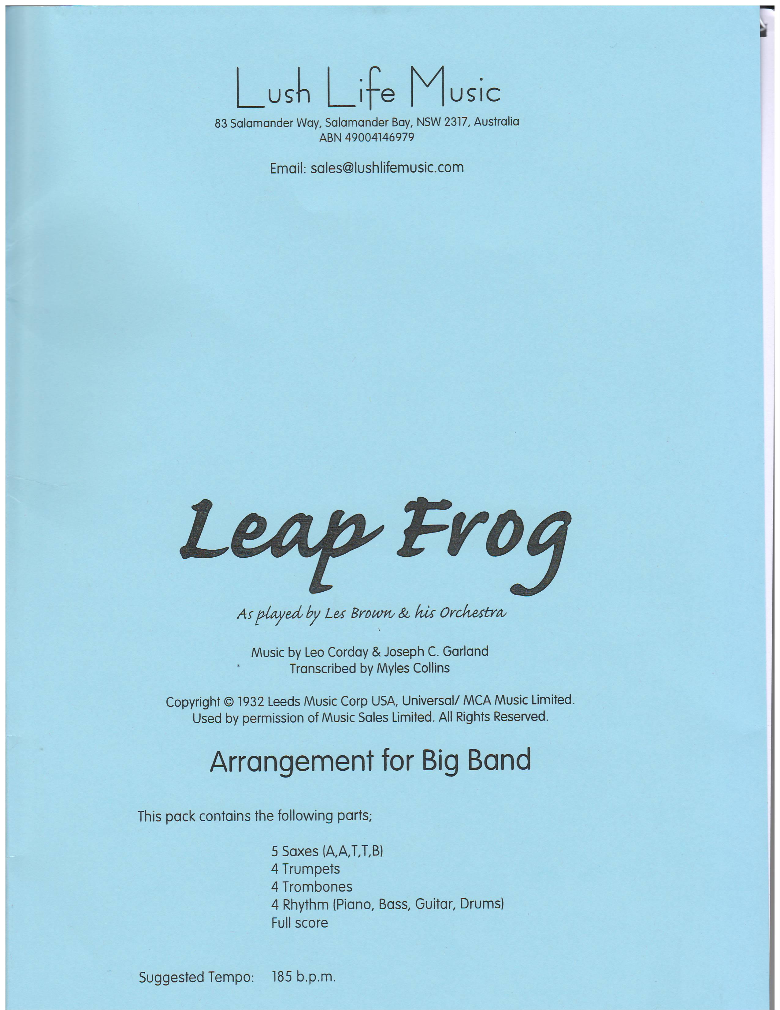 Leap Frog Big Band Era Transcriptions Brown Les By Composer