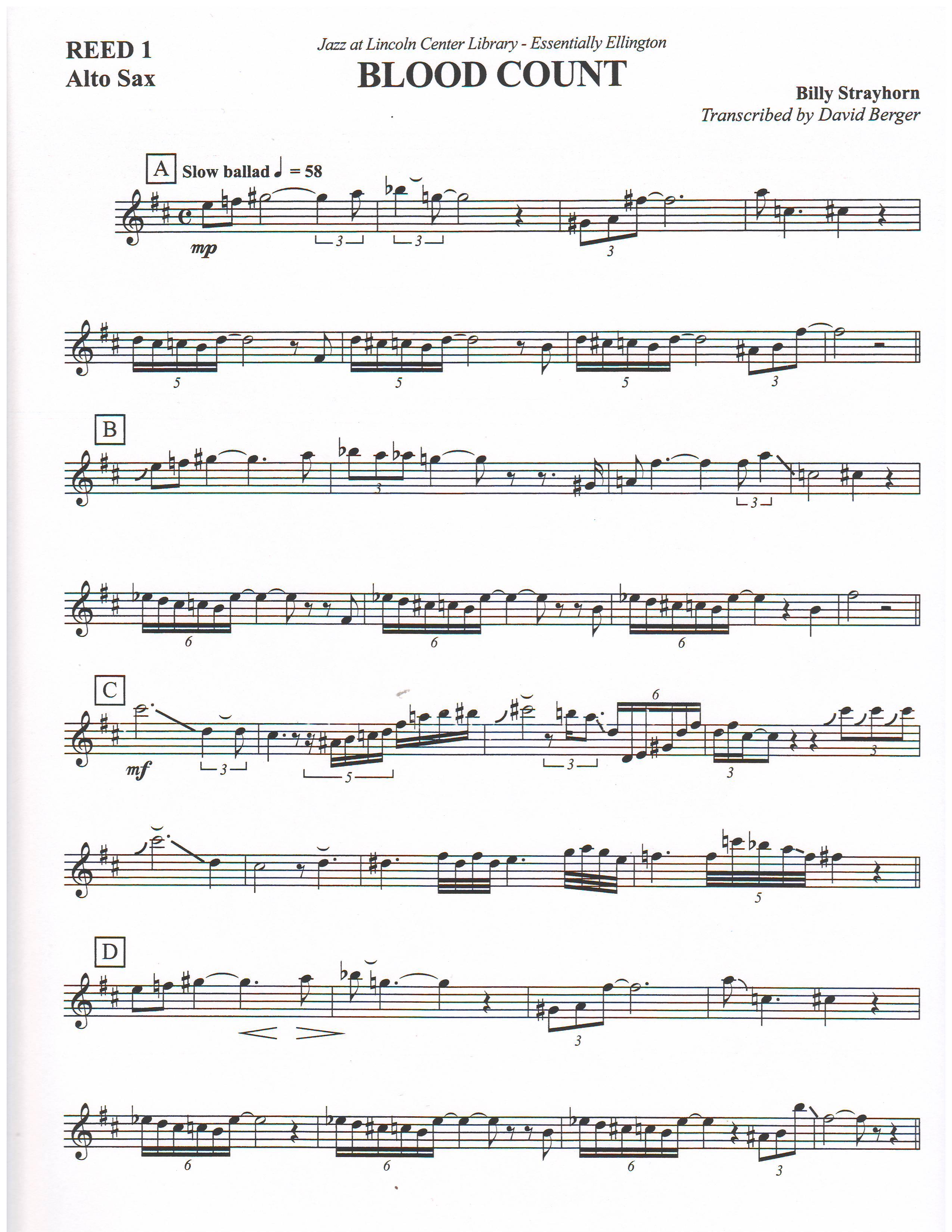 BLOOD COUNT - By Composer / Performer, Ellington, Duke, Jazz
