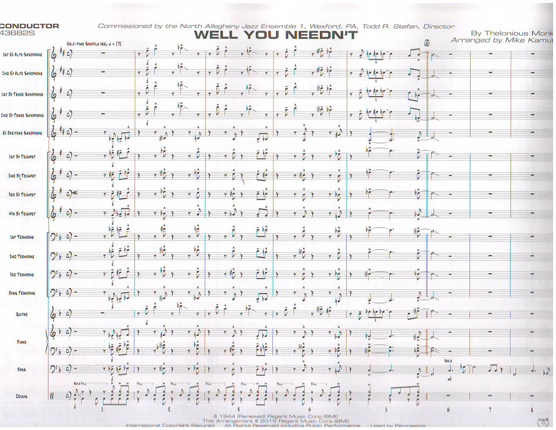 WELL YOU NEEDN'T - By Composer / Performer, Jazz Ensemble