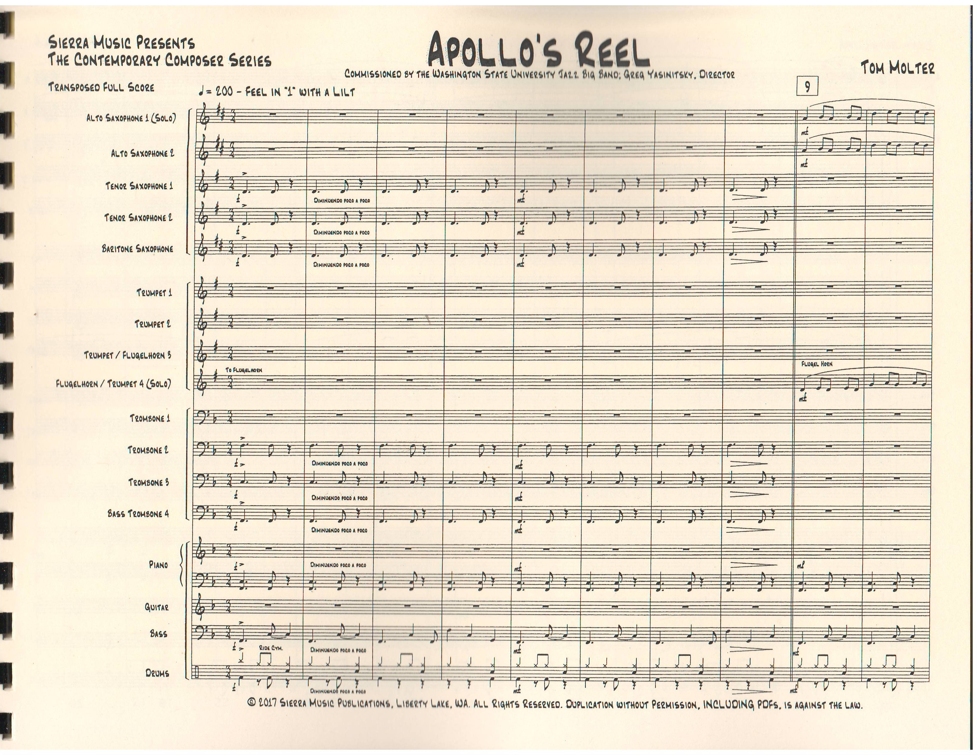 APOLLO'S REEL - By Composer / Performer, Jazz Ensemble (Big Band