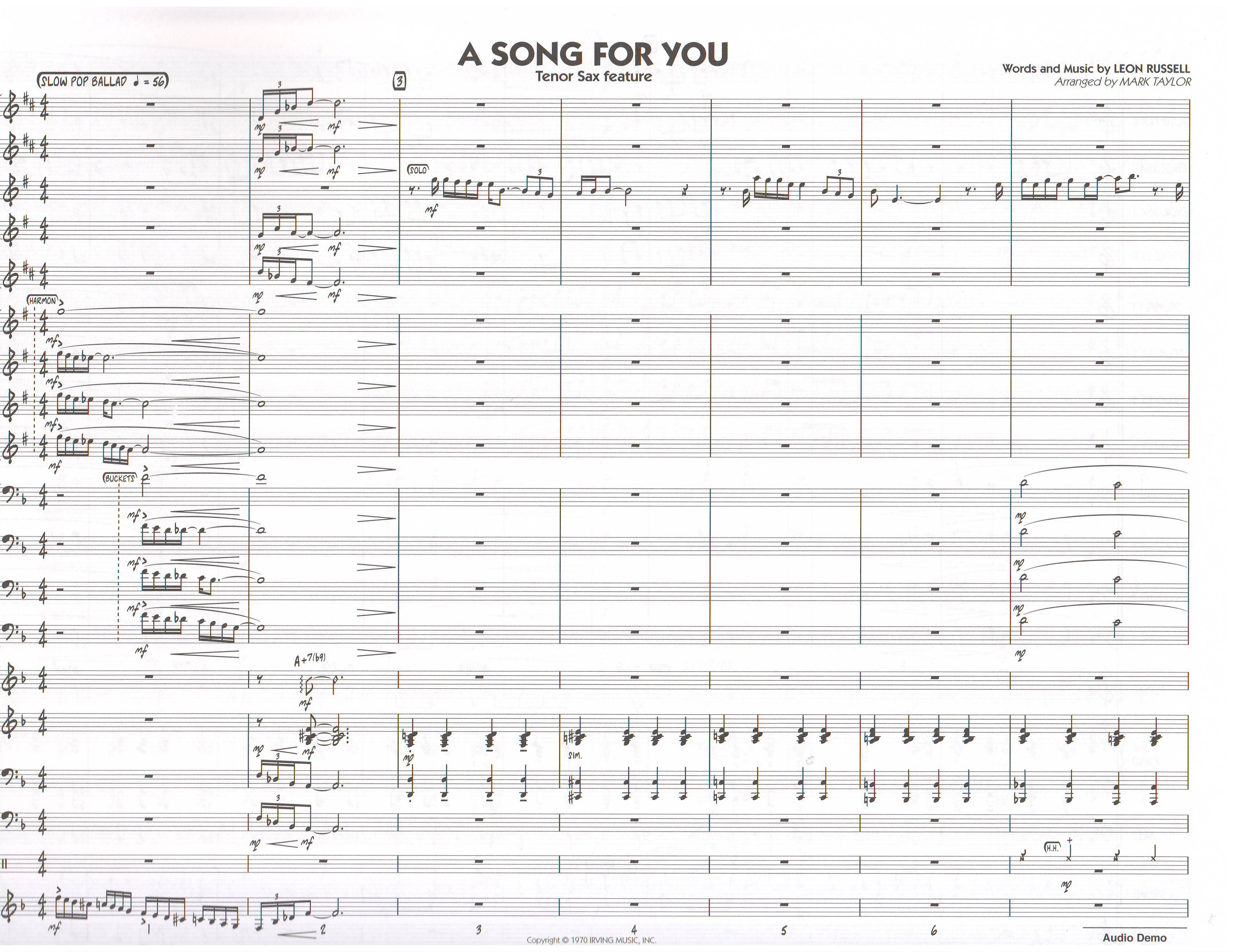 A SONG FOR YOU - Jazz Ensemble (Big Band), Popular Titles